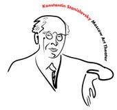 Portret sławny Rosyjski nauczyciel, dyrektor, aktor, pisarz, założyciel Moskwa sztuki teatr Stanislavsky ilustracji
