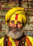 Portret sadhu baba w antycznej Pashupatinath świątyni (święty mężczyzna) Obrazy Royalty Free