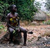 Portret sari dupy plemienia aka kobieta Seksekba, Cameroon Fotografia Royalty Free