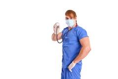 Portret seksowna lekarka na białym tle Zdjęcia Royalty Free
