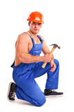 Portret seksowny mechanik z młotem Zdjęcia Royalty Free