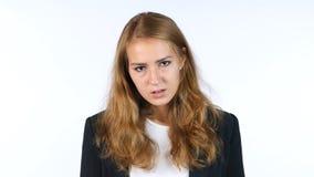 Portret Sfrustowany, Wzburzony I Gniewny bizneswoman, Biały tło zdjęcia stock