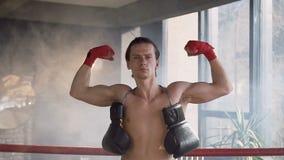 Portret silny dysponowany mężczyzna pokazuje jego mięśnie w gym zdjęcie wideo