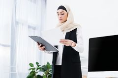 portret skoncentrowany arabski bizneswoman zdjęcia royalty free