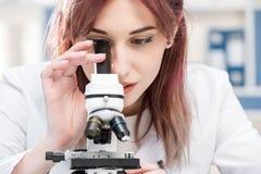 Portret skoncentrowany naukowiec w lab żakiecie pracuje z mikroskopem obrazy royalty free