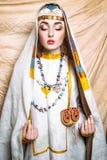 Portret slavic kobiety od past Krajowej rocznik odzieży Obrazy Royalty Free