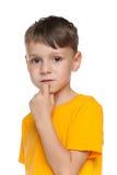 Portret smutna chłopiec Fotografia Royalty Free