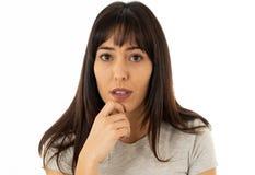 Portret smutna i przygnębiona kobieta pojedynczy białe tło Ludzcy wyrażenia i emocje obraz royalty free