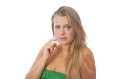 Portret smutny przyglądający blondyn nad biel Fotografia Stock