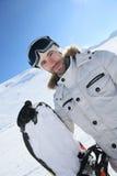 Portret snowboarder na skłonach Obrazy Royalty Free