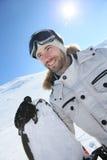 Portret snowboarder na skłonach Zdjęcie Royalty Free