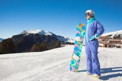 Portret snowboarder na wierzchołku Dolomiti Zdjęcia Stock