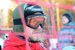 Portret snowboarder w szkłach Zdjęcia Royalty Free