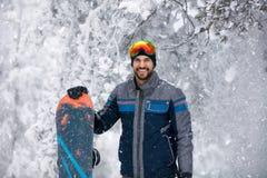 Portret snowboarder - zima sporta stylu życia pojęcie Zdjęcia Royalty Free