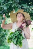 Portret starsza kobieta w kapeluszowym mieniu buraki Zdjęcie Royalty Free