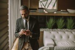 Portret starszy biznesmen używa telefon komórkowego w nowożytnym biurze obrazy royalty free