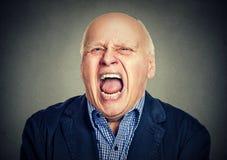 Portret starszy gniewny mężczyzna Zdjęcia Stock