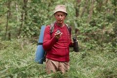 Portret starszy mężczyzna z lornetkami i plecak pozycja w środku las, mienie kompas w jego ręce, patrzeje attentively zdjęcia stock