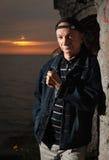Portret starszy osamotniony zadumany mężczyzna Zdjęcia Stock
