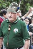 Portret stary włoski wysokogórski wojskowy w paradzie Fotografia Royalty Free