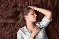 Portret sypialna dziewczyna Obraz Stock