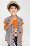 Portret Szczęśliwa azjatykcia śliczna chłopiec z uśmiech twarzą Obrazy Stock