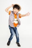 Portret Szczęśliwa azjatykcia śliczna chłopiec z uśmiech twarzą Zdjęcia Stock