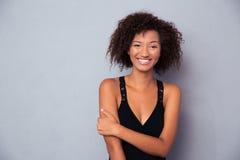 Portret szczęśliwa czarny afrykanin kobieta Fotografia Stock