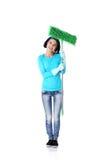 Portret szczęśliwa kobieta z kwaczem Zdjęcia Stock