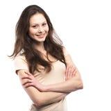 Portret szczęśliwy młodej dziewczyny ono uśmiecha się obraz royalty free