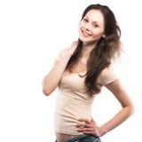 Portret szczęśliwy młodej dziewczyny ono uśmiecha się fotografia royalty free