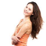 Portret szczęśliwy młodej kobiety ono uśmiecha się zdjęcia stock