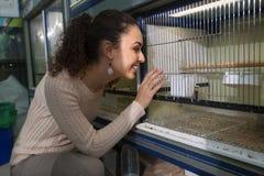Portret szczęśliwa młodej dziewczyny dopatrywania skrzynka dla śpiewackich ptaków Fotografia Royalty Free