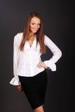 Portret szczęśliwa uśmiechnięta biznesowa kobieta Zdjęcie Stock