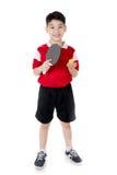 Portret Szczęśliwej azjatykciej chłopiec sztuki stołowy tenis Fotografia Stock