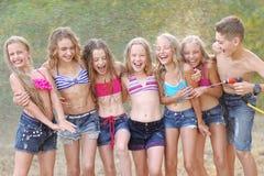 Portret szczęśliwi dzieci na naturze Obraz Royalty Free