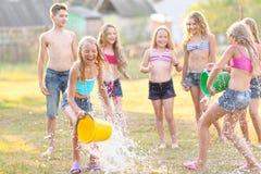 Portret szczęśliwi dzieci na naturze Zdjęcia Royalty Free