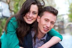 Portret szczęśliwi potomstwa dobiera się outdoors Obrazy Royalty Free