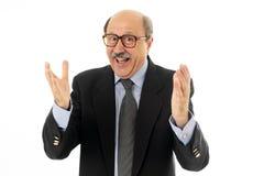 Portret szczęśliwi starsi biznesmen odświętności sukcesy doskonały pomysł zdjęcie stock