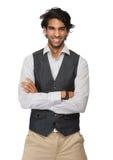 Portret szczęśliwy mężczyzna ono uśmiecha się, ręki krzyżujący i obrazy royalty free