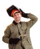 Portret szczęśliwy męski spawacz Zdjęcie Stock