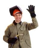 Portret szczęśliwy męski spawacz Zdjęcia Royalty Free
