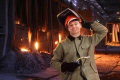 Portret szczęśliwy męski spawacz Obraz Stock