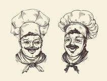 Portret szczęśliwy szef kuchni Element dla projekta menu kawiarni lub restauraci Pociągany ręcznie nakreślenie ilustracja Obraz Stock