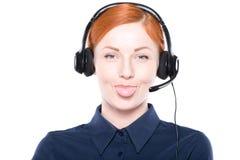 Portret szczęśliwy uśmiechnięty rozochocony poparcie telefonu operator Fotografia Royalty Free