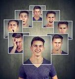 Portret szczęśliwy zamaskowany młody człowiek wyraża różne emocje zdjęcie stock