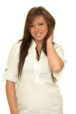 Portret szczęśliwa uśmiechnięta dziewczyna z długimi hairs Fotografia Stock