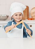 Portret szefa kuchni fartuch i kapelusz troszkę zdjęcie royalty free
