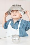 Portret szefa kuchni fartuch i kapelusz troszkę obraz stock
