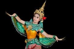 Portret Tajlandzka młoda dama w antycznym Tajlandia tanu Obraz Stock